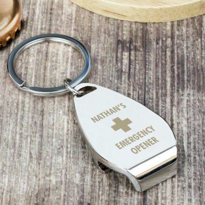 Personalised Emergency Bottle Opener Keyring