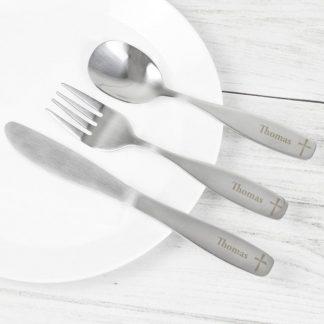 Personalised 3 Piece Cross Cutlery Set