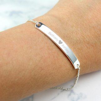 Personalised Silver Tone Heart ID Bracelet