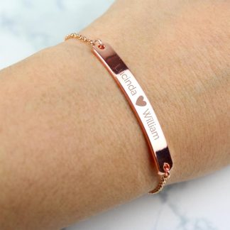 Personalised Rose Gold Tone Heart ID Bracelet