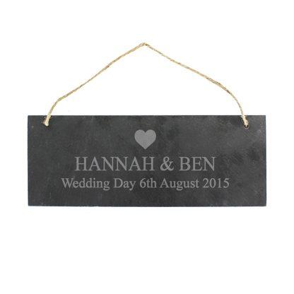 Personalised Heart Motif Hanging Slate Sign