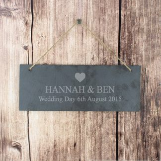 Personalised Heart Motif Hanging Slate Sign