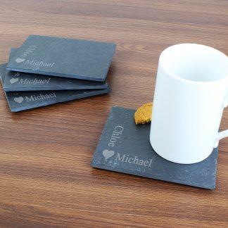 Personalised Heart Motif Pack of 4 Slate Coasters
