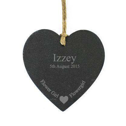 Personalised Flower Girl Slate Heart Decoration