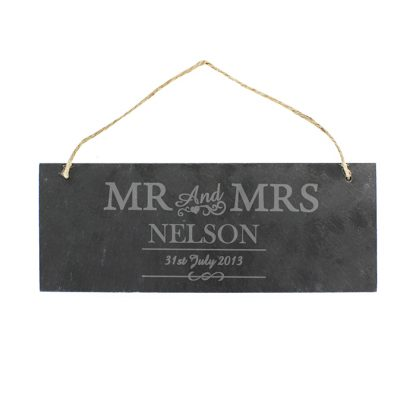 Personalised Mr & Mrs Slate Door Sign
