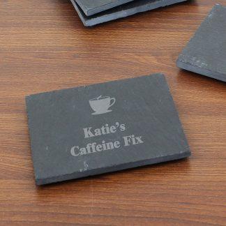 Personalised Hot Drink Motif Slate Coaster