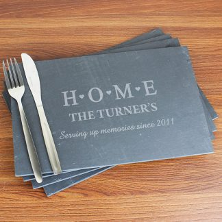 Personalised HOME Pack of 4 Slate Rectangle Placemats