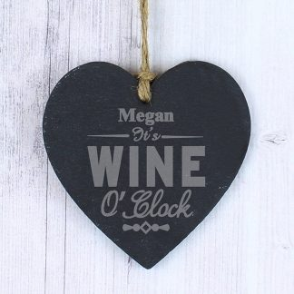 Personalised Wine OClock Slate Heart
