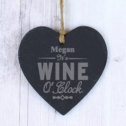 Personalised Wine OClock Slate Heart