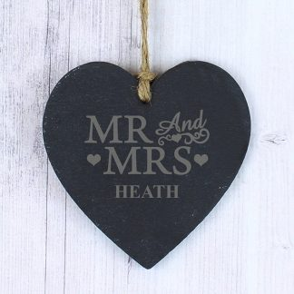 Personalised Mr & Mrs Small Slate Heart Decoration