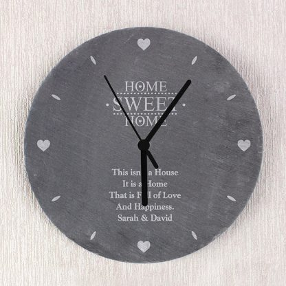 Personalised Home Sweet Home Slate Wall Clock