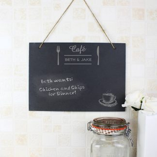 Personalised Cafe Hanging Slate Chalk Board