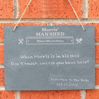 Personalised Man Shed Hanging Slate Chalk Board
