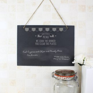 Personalised Menu Hanging Slate Chalk Board
