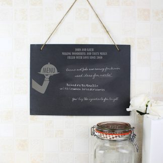 Personalised Waiter Hanging Slate Chalk Board