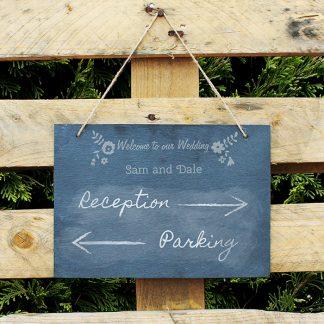 Personalised Wedding Flowers Hanging Slate Chalk Board