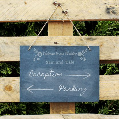 Personalised Wedding Flowers Hanging Slate Chalk Board