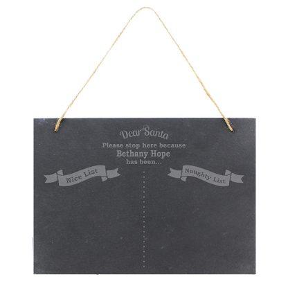 Personalised Naughty & Nice Hanging Slate Sign