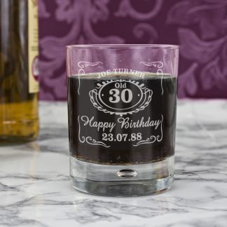 Personalised Classic Age Whisky Style Tumbler Bubble Glass