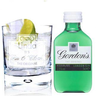 Personalised Gin OClock Glass & Gin Miniature Set