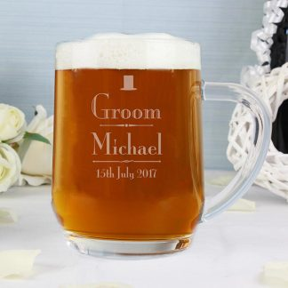 Personalised Decorative Wedding Groom Glass Tankard