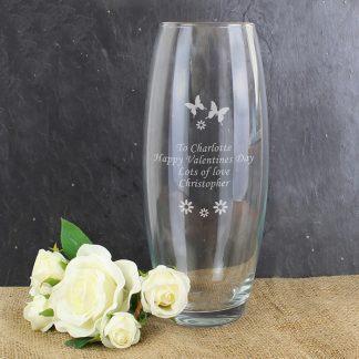 Personalised Butterflies & Flowers Bullet Vase