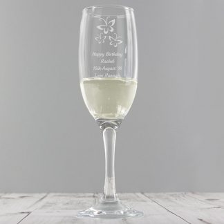 Personalised Butterfly Champagne Flute