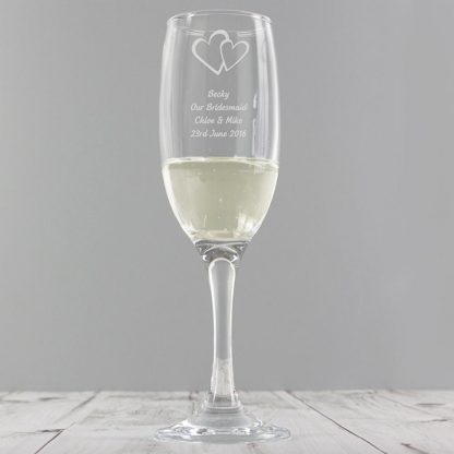 Personalised Hearts Champagne Flute