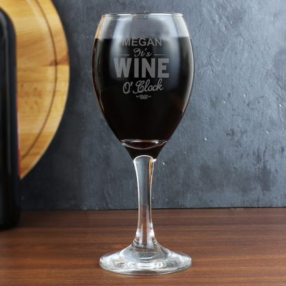 Personalised Wine OClock Engraved Wine Glass