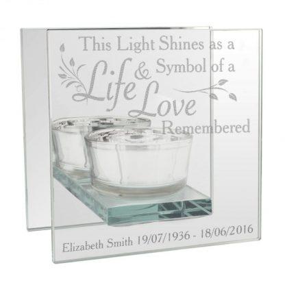 Personalised Life & Love Mirrored Glass Tea Light Holder