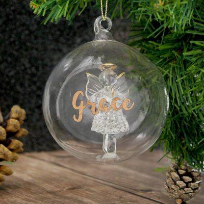 Personalised Gold Glitter Name Only Angel Glass Bauble