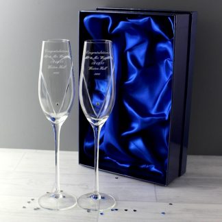 Personalised Hand Cut Heart Pair of Flutes with Swarovski Elements