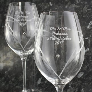 Personalised Pair Hand Cut Diamante Heart Wine Glasses