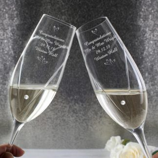 Personalised Pair of Hand Cut Small Hearts Diamanté Champagne Flutes