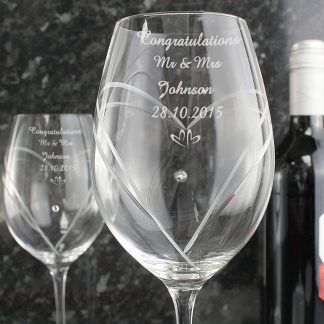 Personalised Hand Cut Small Hearts Diamanté Wine Glasses