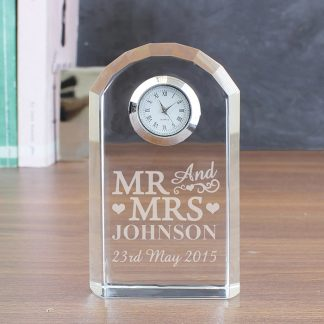 Personalised Mr & Mrs Crystal Glass Mantel Clock