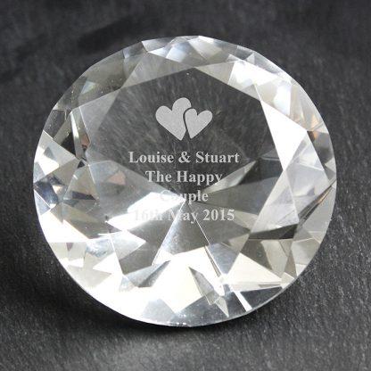 Personalised Heart Motif Diamond Paperweight