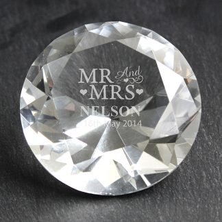 Personalised Mr & Mrs Diamond Crystal Paperweight
