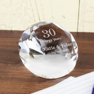 Personalised Big Numbers Diamond Paperweight