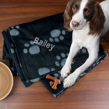 Personalised Dog Paw Print Fleece Blanket