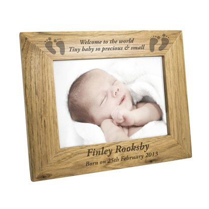 Personalised 7x5 Footprints Wooden Photo Frame