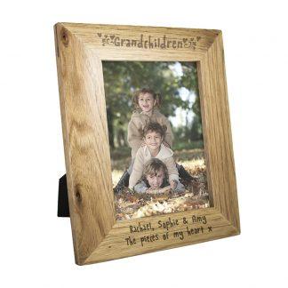 Personalised 7x5 Grandchildren Wooden Photo Frame