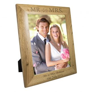 Personalised 10x8 Mr & Mrs Wooden Photo Frame