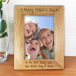 Personalised 7x5 Happy Fathers Day Wooden Photo Frame