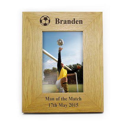 Personalised Oak Finish 6x4 Football Photo Frame