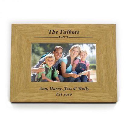 Personalised Oak Finish 6x4 Formal Landscape Photo Frame