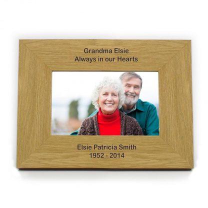 Personalised Oak Finish 6x4 Landscape Wooden Photo Frame