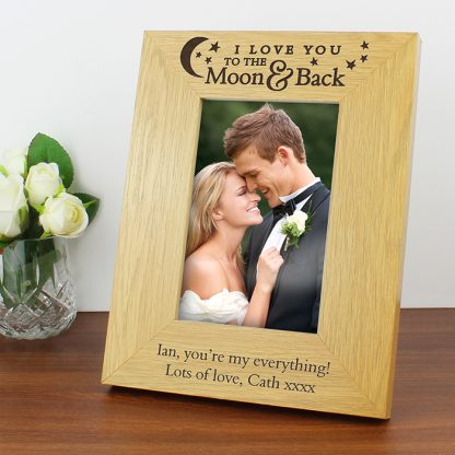 Personalised To the Moon and Back... Oak Finish 6x4 Photo Frame