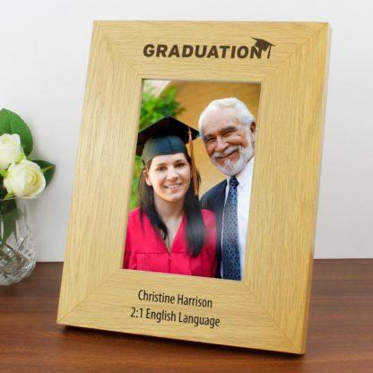 Personalised Oak Finish 6x4 Graduation Photo Frame
