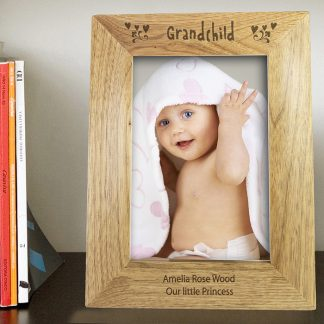 Personalised 7x5 Grandchild Wooden Photo Frame